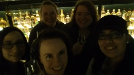 Selfie with the scotch whisky collection in the background